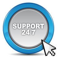 Bild zeigt einen Knopf mit der Beschriftung 24/7 Support