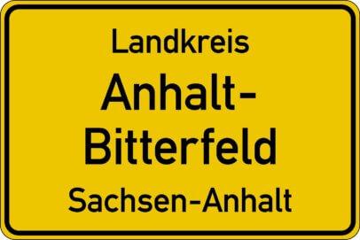 Ortsschild Landkreis Anhalt Bitterfeld - Anlass Cyberattacke 2021