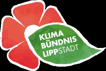 Logo des Klimabündnis Lippstadt rote Lipperose mit grünem Blatt und Schriftzug