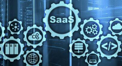 Bild mit SaaS Zahnrad in der Mitte zur Verdeutlichung ineinander greifender Software Dienste